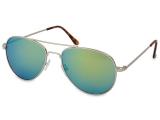 alensa.fr - Lentilles de Contact pas chères en ligne - Lunettes de soleil Silver Aviator - Bleu/Vert